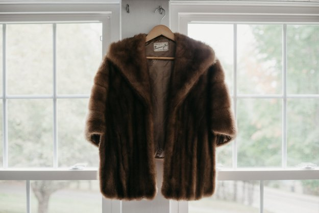 My grandmother's vintage fur made for her by her brother | Our Northeast Charm Wedding in Maine | Ultimate Bridesmaid | Brett & Jessica Photography