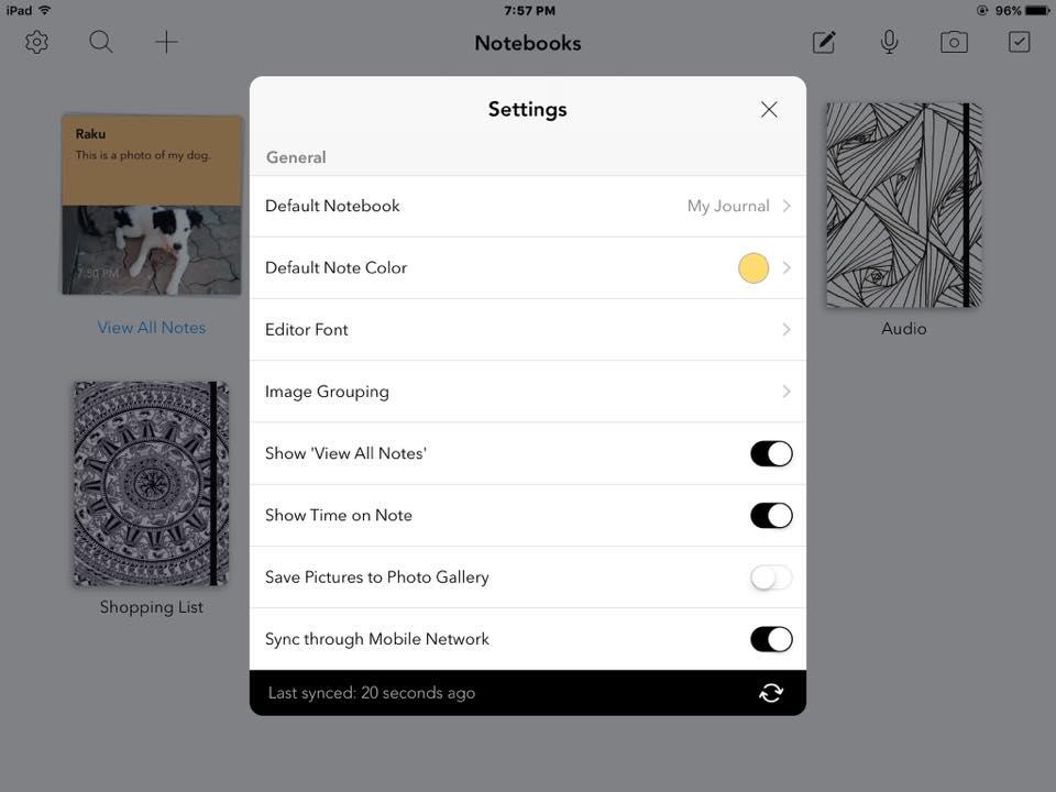 Zoho Notebook - settings