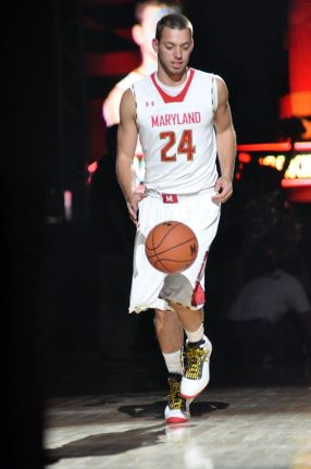 Walk- on senior point guard Jacob Susskind takes the court during Maryland Madness. Photo courtesy of Jacob Susskind.