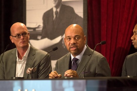 Panelist Michael Wilbon discusses his views on racial discrimination in sports at the annual Shirley Povich Symposium on Nov. 11.  Photo Credit: Olin Akisoglu/ The Mitzpeh