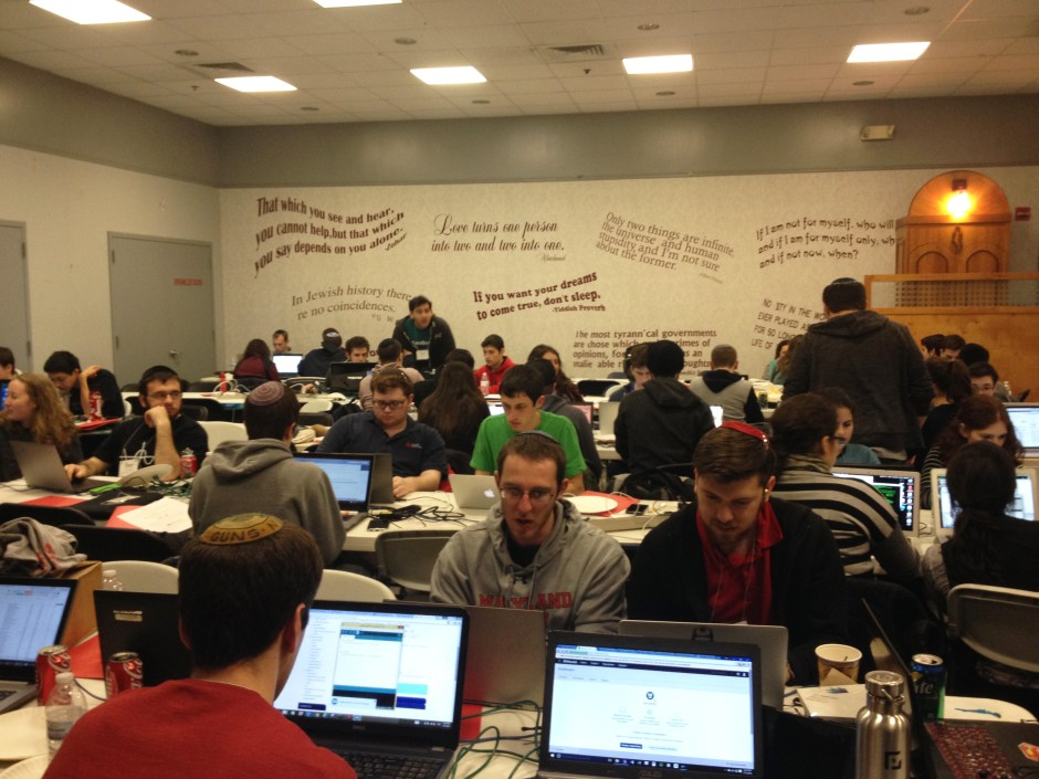 About 170 students took a day off from homework to endure a 19.5 hour-long computer coding marathon in the Maryland Hillel multipurpose room. Jacob Schaperow/Mitzpeh.
