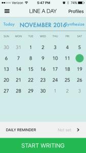 Calendar screenshot from Line a Day app.
