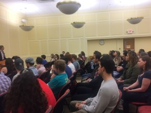 Over 100 students came to hear 24-year United States State Department veteran Aaron David Miller discuss Trump's foreign policy initiatives with Israel. Jack Wisniewski/Mitzpeh.