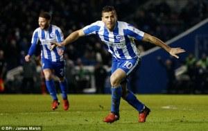 Striker Tomer Hemed celebrates after scoring a goal for Brighton. James Marsh via DailyMail.