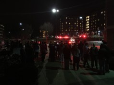 Students were evacuated and waited outside in the cold until they were told otherwise. (Photo by Heather Kim)