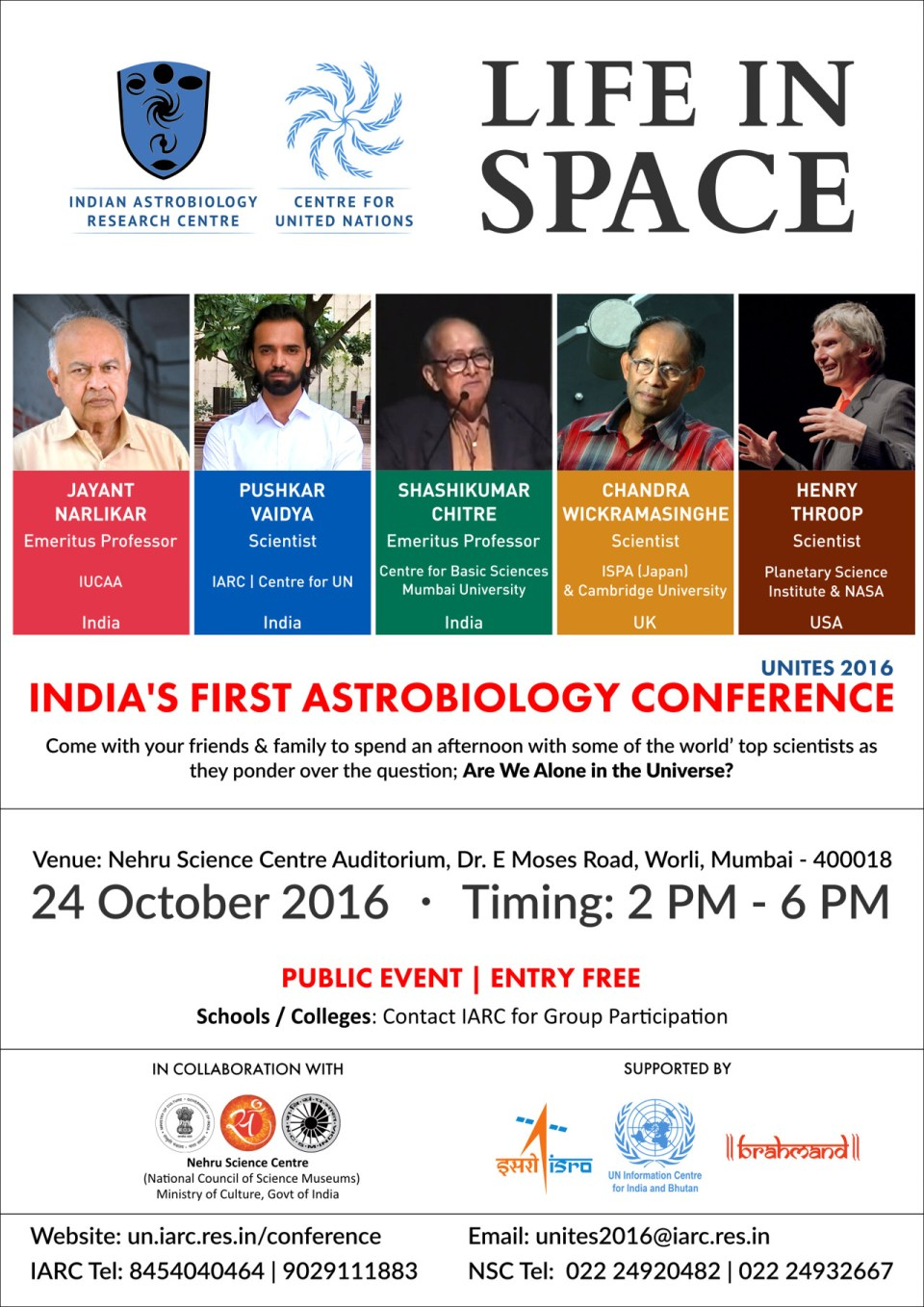 Life in Space - India's First Astrobiology Conference Poster