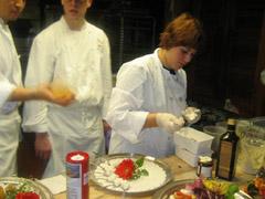 Chefs preparing ricotta di bufala