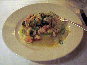 Sweet shrimp over polenta at Del Posto