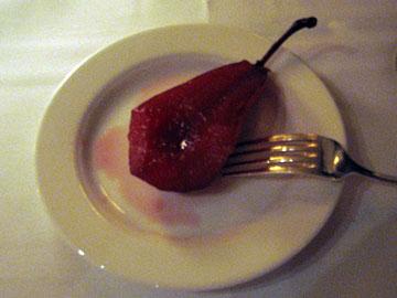 Poached pear at Del Posto