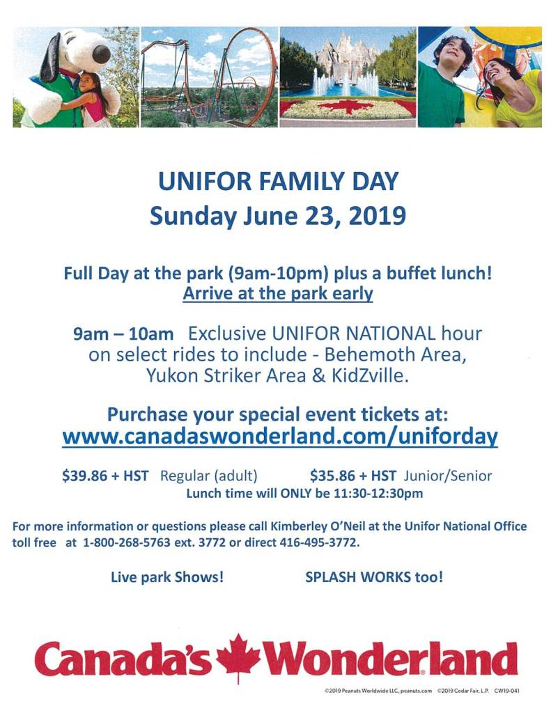 Unifor Family Day at Canada's Wonderland 2019