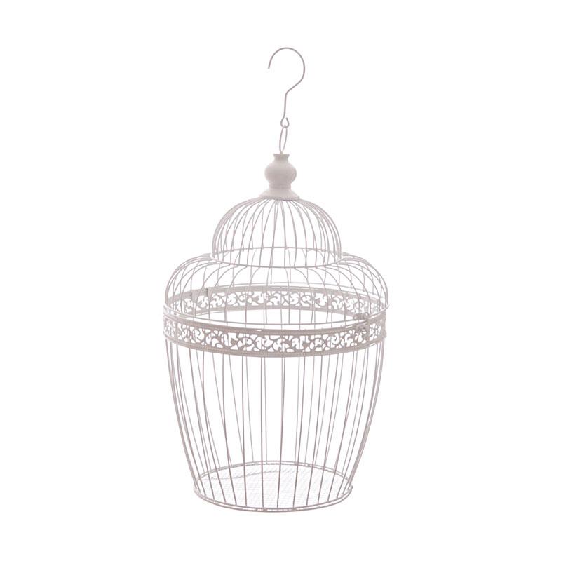 45cm square white wire bird cage decorative with dome top