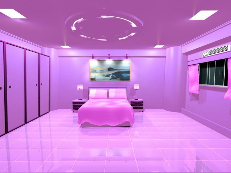 ピンクで統一しすぎな寝室