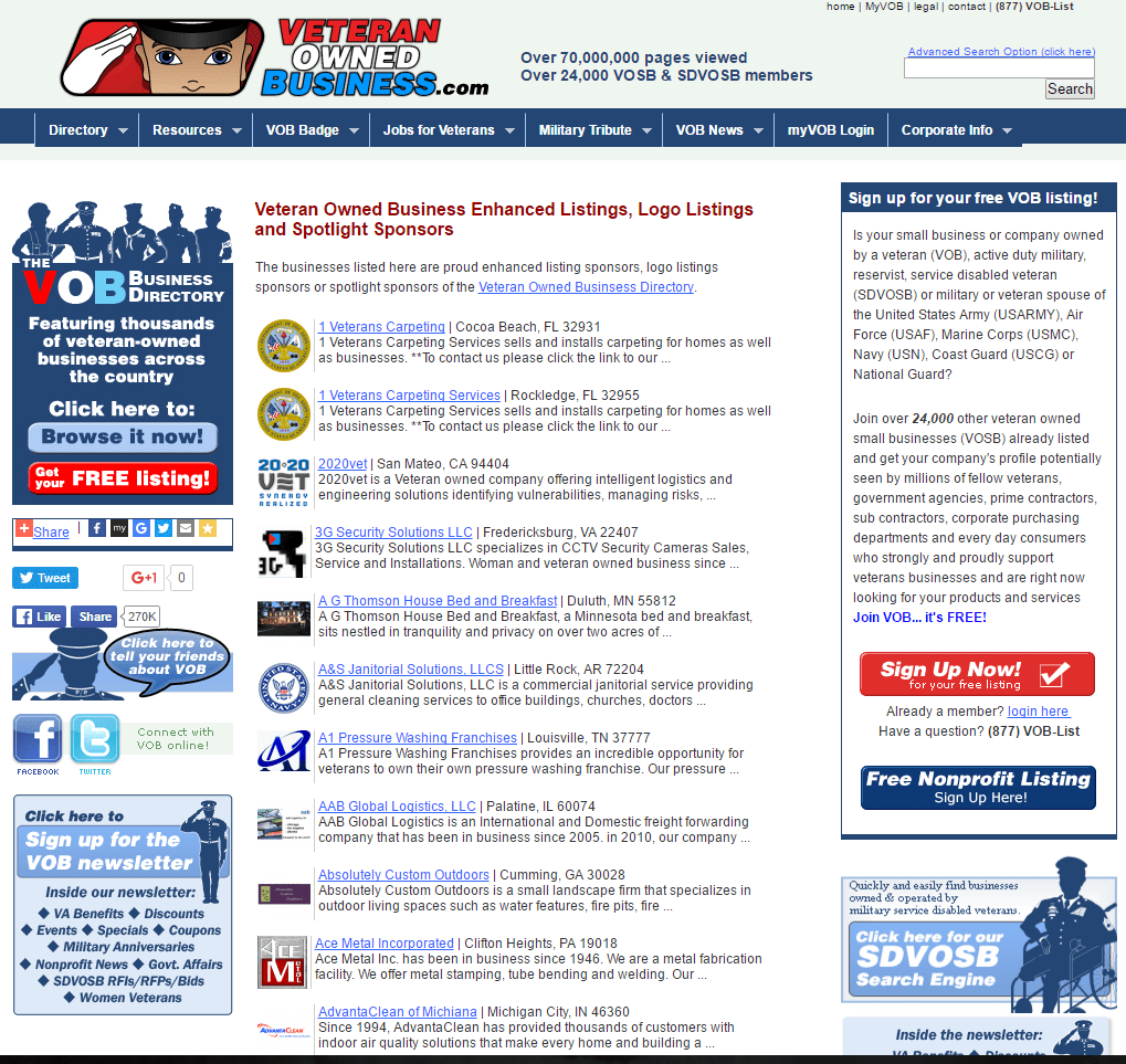 Veteran Owned Business Directory Selling Ads to Vets - Link Directories Are BAD for Your SEO