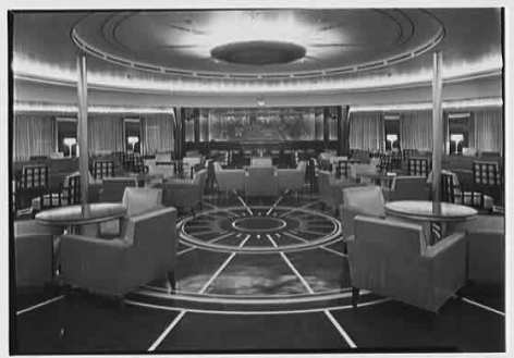 THE NEW STYLE. First Class smoking room S.S. America A Mariner's Museum photo