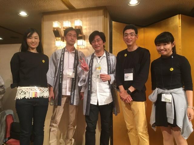 UIST2016のCo-chairsの東大・五十嵐さんと暦本さんと記念撮影