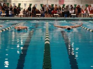 200 IM finals at the MPSF swimming championships in February. Kaleb is on the left, Preston is on the right.