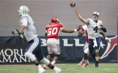 Taysom Hill releases a pass against Houston on Saturday. Photo courtesy BYU Athletics