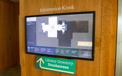 The new touchscreen directory in the library provides an intuitive and helpful location for visitors and students to learn more about the library. (Photo by Sarah Hill.)