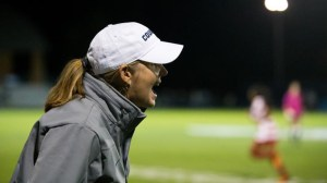 BYU soccer coach Jennifer Rockwood shouts out instructions to her team. Photo by Universe Photographer