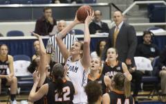 Jennifer Hamson goes up for a shot against Idaho State. Photo courtesy Mark Philbrick/ BYU Photo