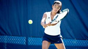 Freshman tennis player Toby Miclat returns a serve at practice. Photo courtesy BYU Photo