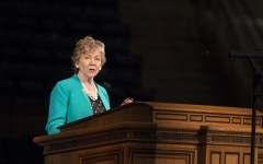 Virginia H. Pearce speaks at Women's Conference on May 1, 2014 Photo by Natalie Stoker