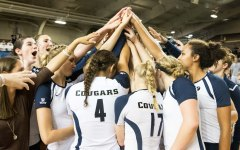 BYU woman's volleyball team celebrating a win earlier this season. (The Universe)