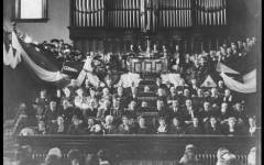 The inauguration of President Franklin S. Harris was held at the Provo Tabernacle. President Harris was the first BYU president to hold a doctoral degree.