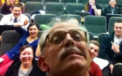 Professor Riley Nelson snaps a selfie while teaching his Biology 100 course. (Mariel Flores)