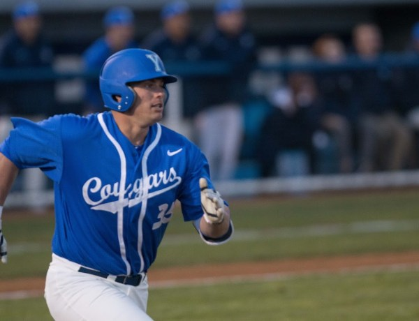 Colton Shaver runs to first earlier this season. Shaver and the Cougars went 0-2 in the WCC tournament. (Universe Archives)