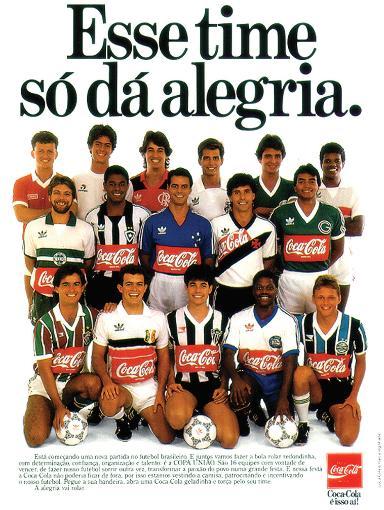 Anúncio da Cola-Cola, patrocinador oficial dos times que disputaram a Copa União 1987| Reprodução: jhareias.com