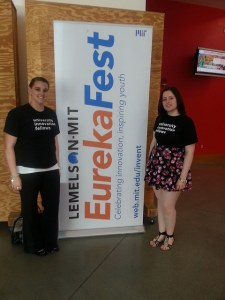 Katie Dzugan, UIF Program Associate (left) & Fellow Hristina Milojevic, Union College at EurekaFest 2014.