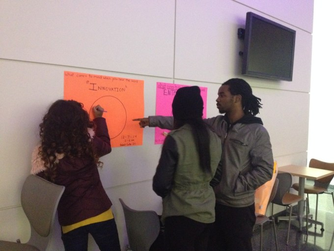 Students found brainstorming in the School of Architecture.