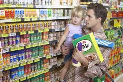 Papà e figlia al supermercato
