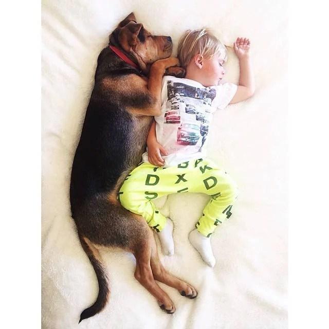 bambino e cane distesi insieme