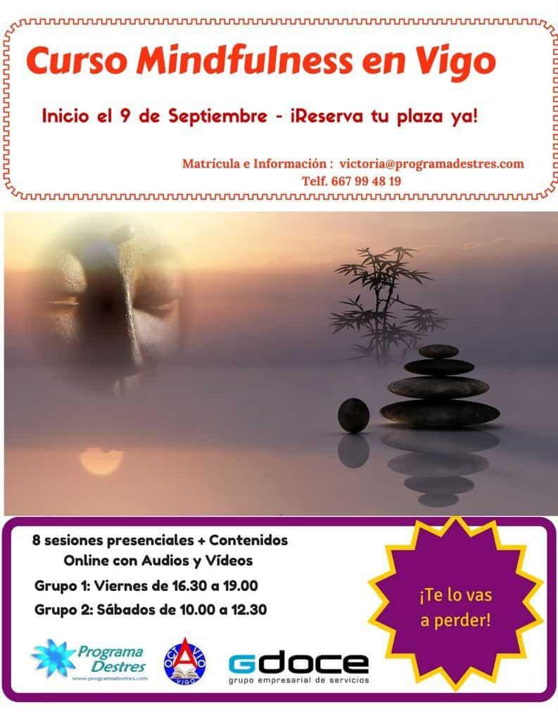 Mindfulness para gestión de estrés en Vigo inicio 9 de  septiembre