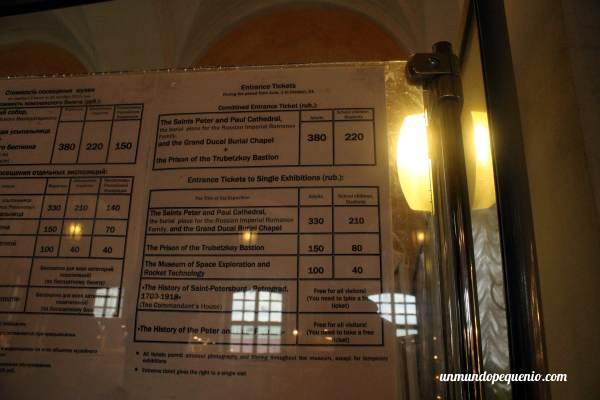 Precios de entradas Fortaleza San Petersburgo