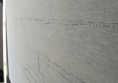 Linen thread on unwashed linen cloth, 130 x 230 cm