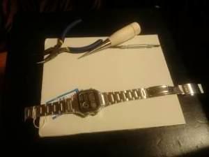 腕時計板巻きバンド板バネ式調整メタルやり方方法千枚通し