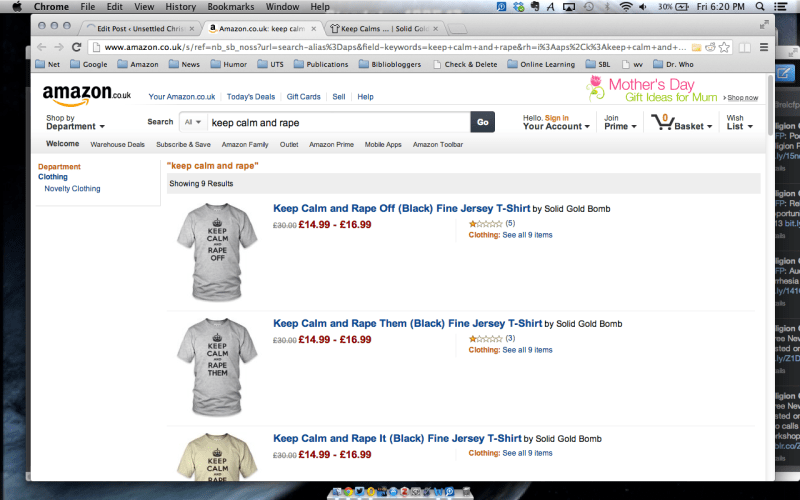 "Oh come on, Amazon.co.uk - Nothing like ""get your rape gear"""