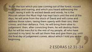 Fitting: 2 Esdras on the Lion's Justice to the Eagle #advent14ccumwv