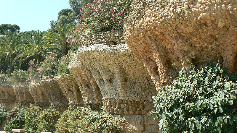 Bird nests built by Gaudí in the terrace walls. The walls imitate the trees planted on them.