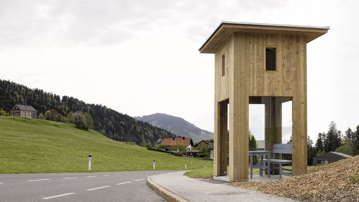 Weird bus stops in Krumbach, Austria