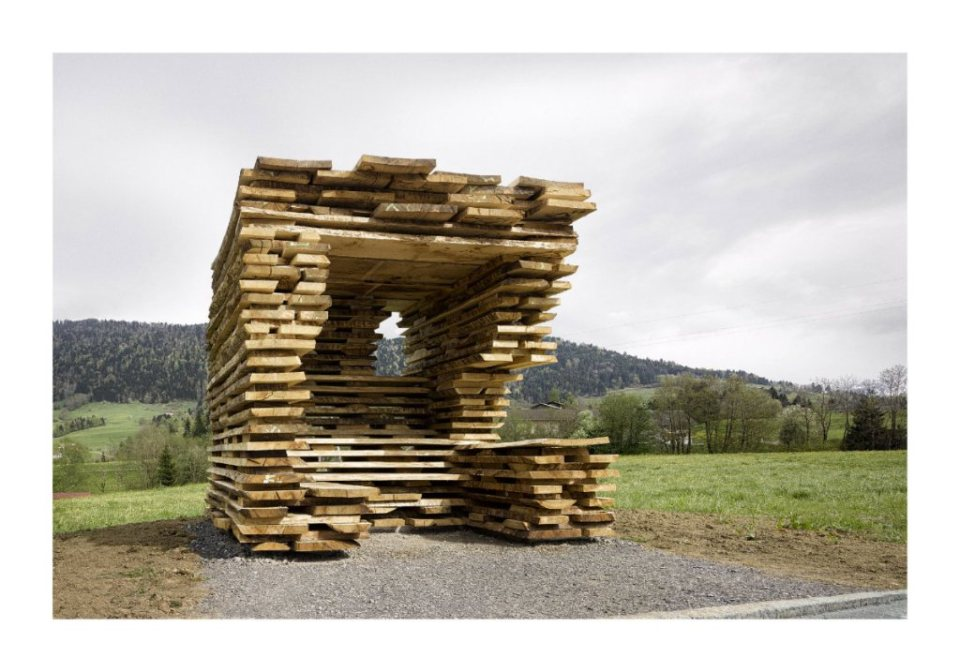"""Ensamble Studio, Spain: """"Ensamble Studio's BUS:STOP for Krumbach explores the appropriation of a local technique used to stack wood planks in the drying barns in the region."""" (Photo: Adolf Bereuter/BUS:STOP Krumbach)"""