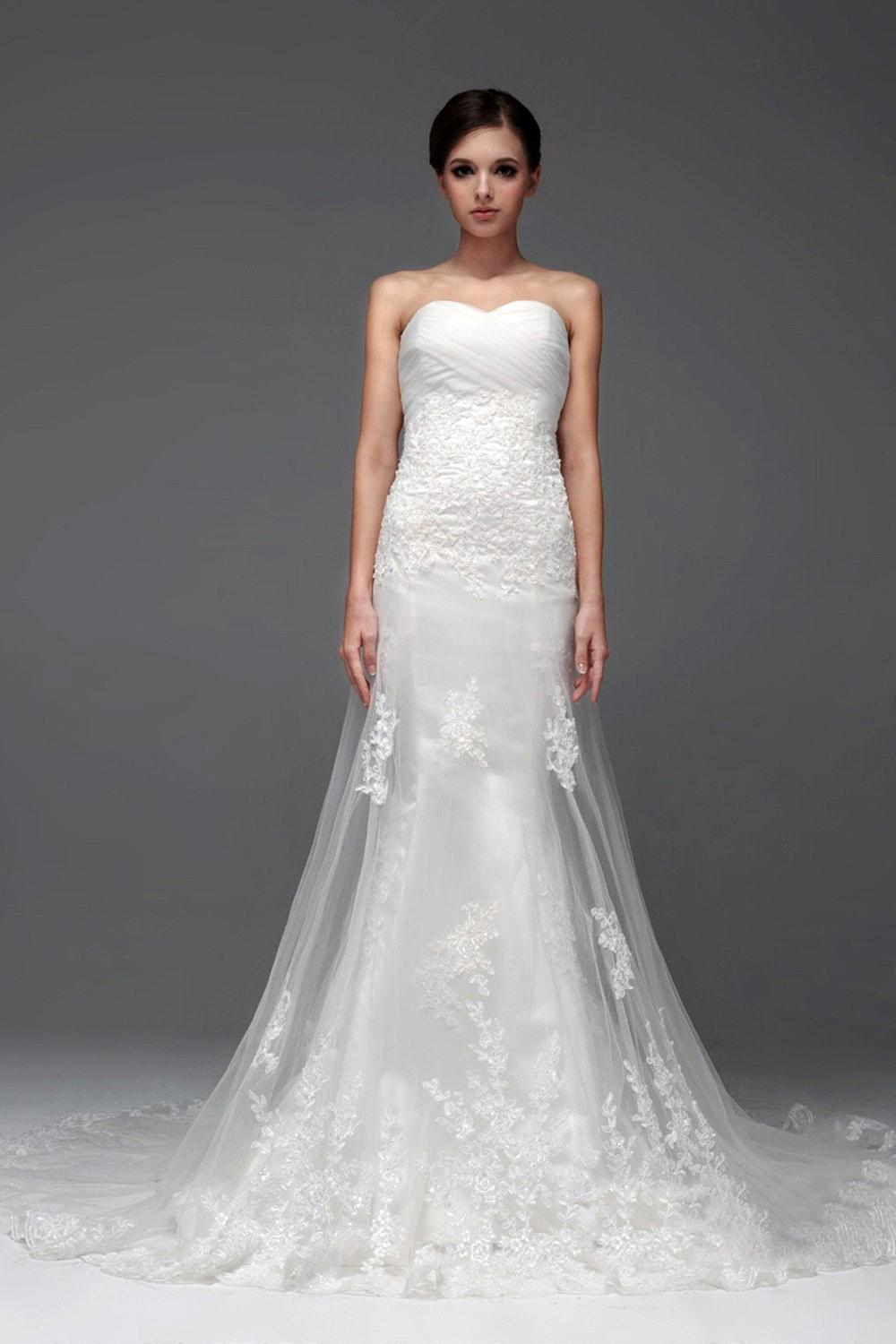 no train wedding dress David Tutera Collection Sleeveless allover lace and tulle wedding dress sheath featuring scalloped illusion