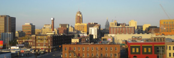 English: This is a skyline shot of Lansing, Mi...
