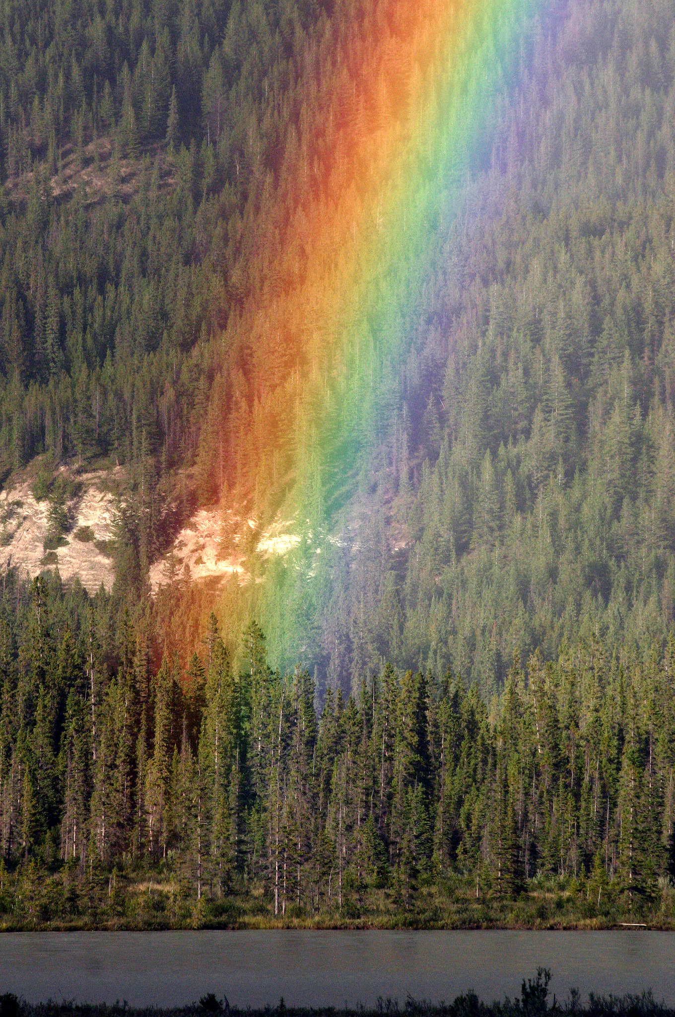 Rainbow   Wikipedia Image of the end of a rainbow at Jasper National Park