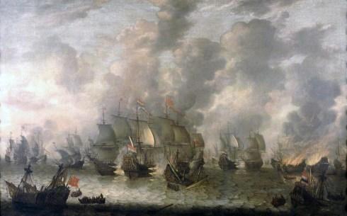 A Batalha de Scheveningen, ocorrida a 10 de Agosto de 1653, vista a partir de um porto holandês. Esta imagem foi pintada por Jan Abrahamsz Beerstraaten.