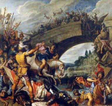 A Batalha da Ponte Mílvia, ocorrida a 27 e 28 de Outubro de 312, ilustrada por Pieter Lastman no 1613.
