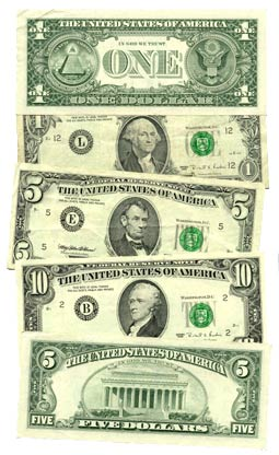 Various Federal Reserve Notes, c.1995. Only th...